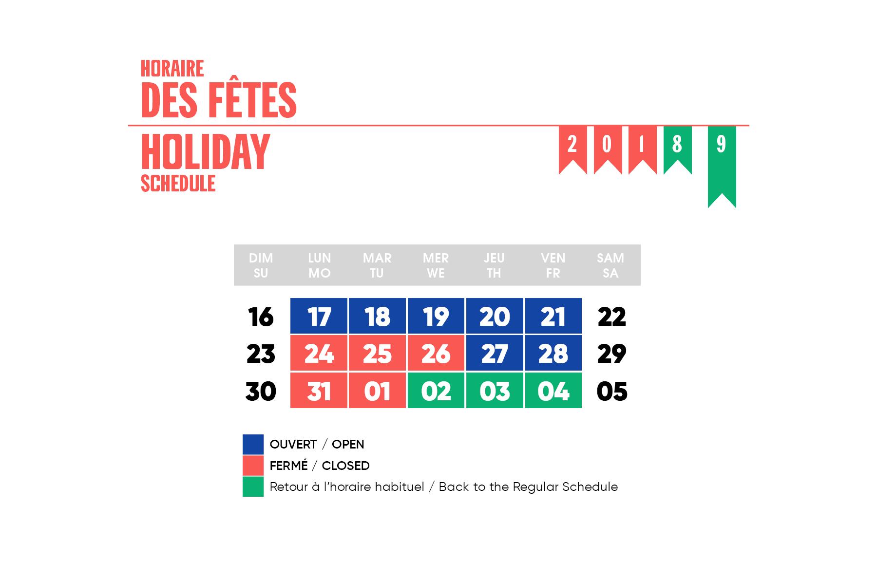 Horaire des fêtes 2018-2019